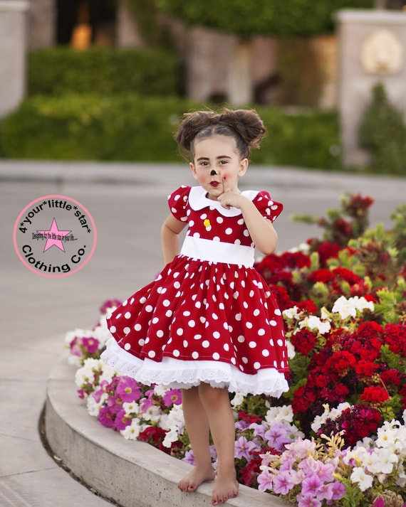 Inspired Minnie Mouse Character Dress for Infants, Toddlers, Girls Sizes 12 mos to Size 10 Birthday Dress Eyelet
