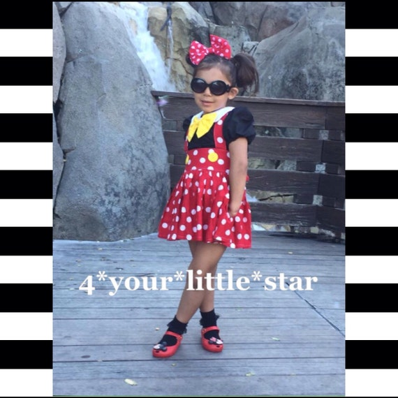 Inspired Minn!e Outfit includes Peter Pan Collar blouse with Suspender skirt toddlers, girls  6/12 m up to girls 10/12
