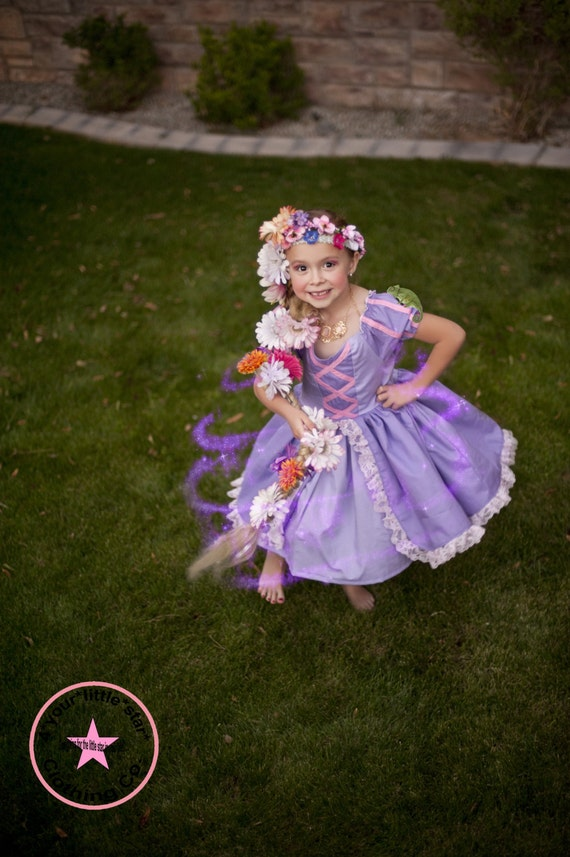 Inspired Rapunzel Princess Character Dress for Infants, Toddlers, Girls Sizes 12 mos to Size 10 Birthday Dress Eyelet