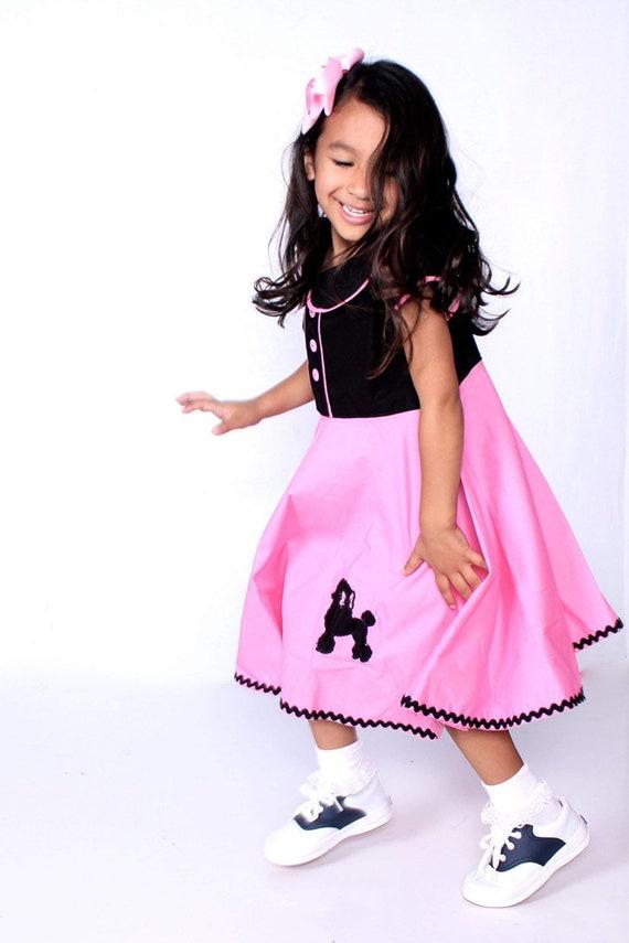 Retro 50's Sock Hop dress -Vintage style Polka Dots & Poodles Birthday Dress ~ Grease infants toddlers Girls Dress sizes 6-12 mos - Girls 16
