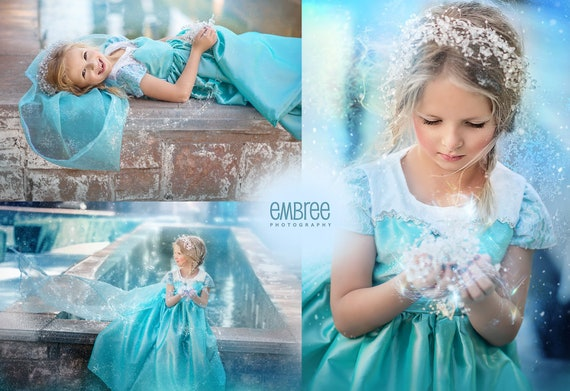 Gorgeous Inspired Elsa winter princess Long Dress gown for Infants, Toddlers, Girls Sizes 12 mos to Girls size 10 Halloween, pageant, OTT