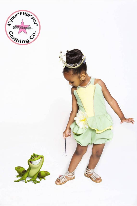 Inspired Princess Tiana Romper for Infants and Toddlers size newborn to size 10 girls Princess and the frog Birthday