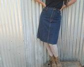 Indigo high waisted denim jeans pencil skirt with pockets gitano 80s 1980s late 70s 1970s waist 28