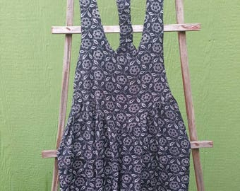 94e3859d9f8 80s black and white floral jumpsuit romper jumper overall mod hippy new  wave goth