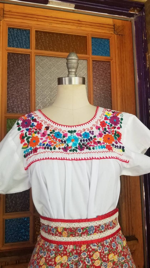Mexican cotton embroidered floral shirt handmade b