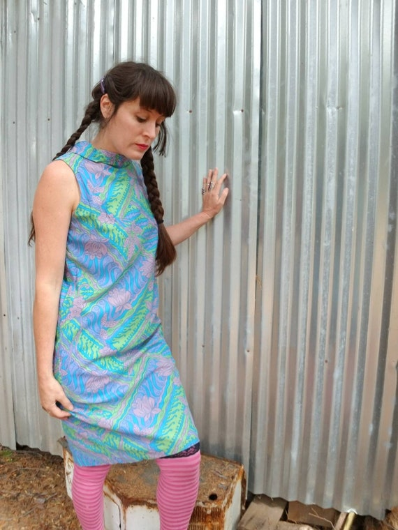 Psychedelic mod print shift dress 60s 70s 1970s 1960s party scooter hippy