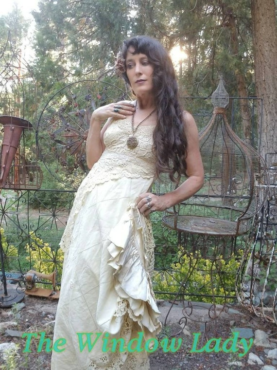 The Window lady patchwork upcycled handmade doily crochet linen satin gown dress ooak bridal wedding boho witchy bride