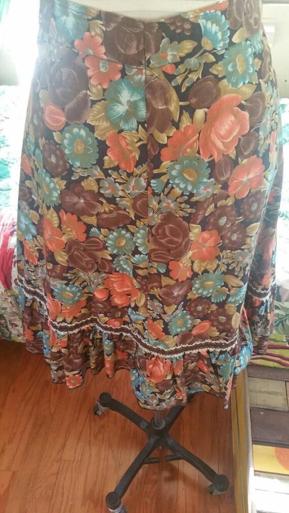 Floral 70s ruffle boho gypsy skirt 1970s hippy fe… - image 2