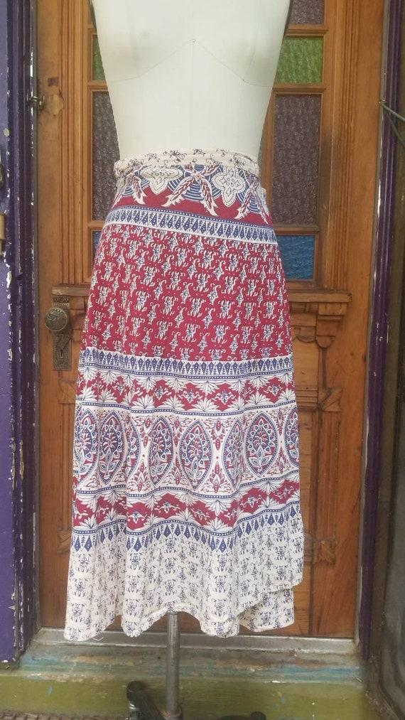 28 Waist Fabulous Vintage 1970s Indian Cotton Peacock Print Hippy Bohemian Wrap Skirt
