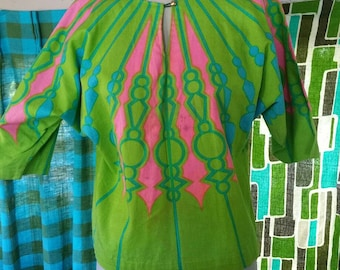 Tweedle deep and tweedle dumb matching shirts crazy phychedelic 60s bright print with dolman sleeves 1960s mod hippie weird twins new wave