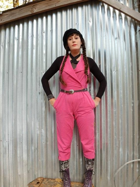 Hot pink cotton 80s jumpsuit new wave punk bright