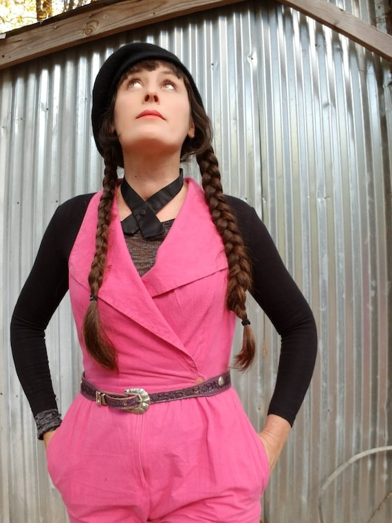 Hot pink cotton 80s jumpsuit new wave punk bright rave 1980s utilitarian pockets