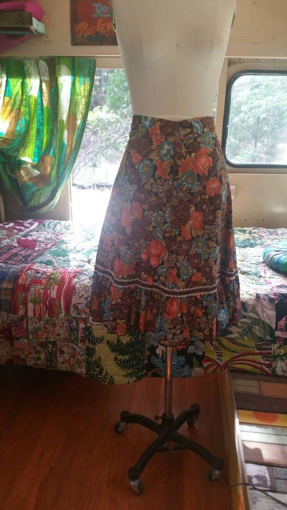 Floral 70s ruffle boho gypsy skirt 1970s hippy fe… - image 3