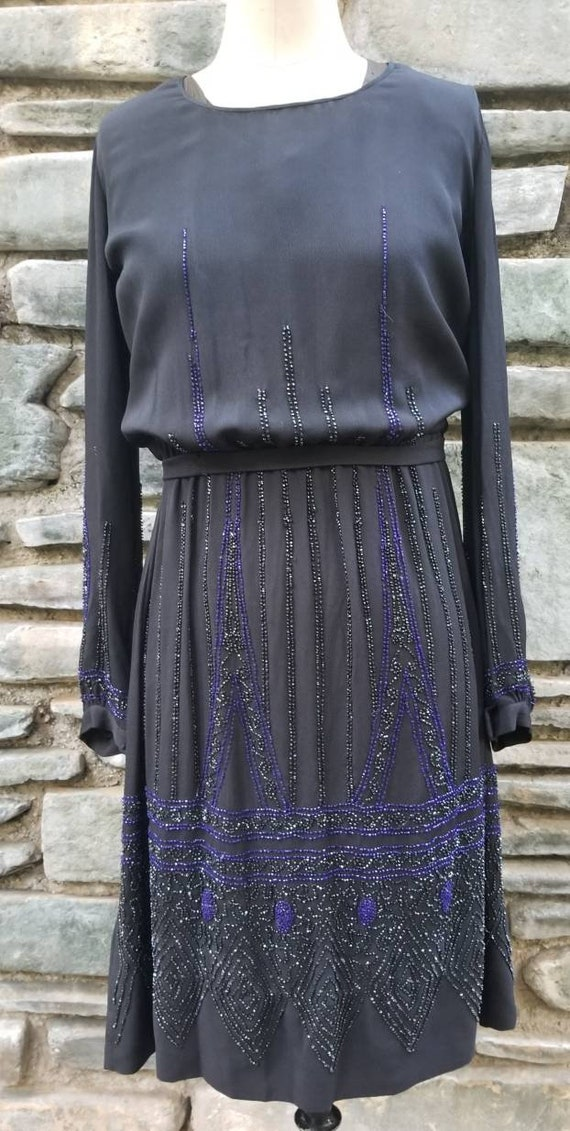 Late 20s 1920s 30s 1930s beaded black dress gown w