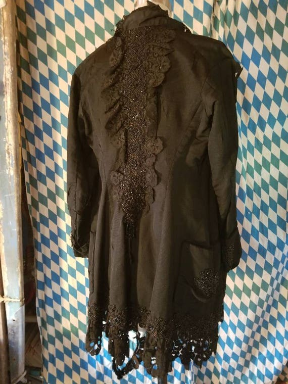 Victorian 1890s 1900s jet bead tattered jacket the
