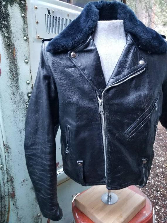 RAD Harley Davidson AMF motorrijden lederen jas jaren 1970 rocker biker punk grunge ska borst 40