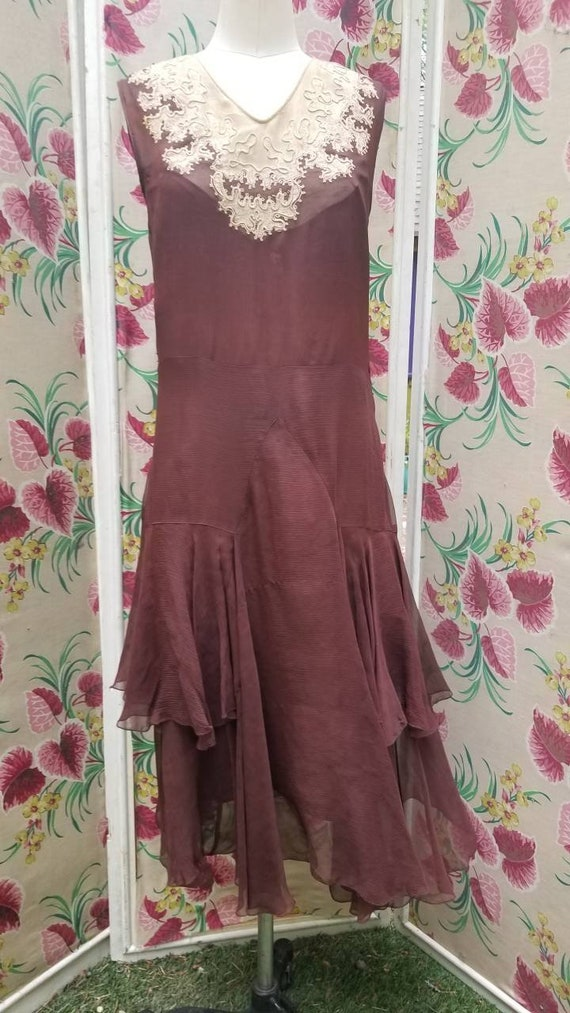 Rusty late 1920s 20s 30s chiffon antique dress