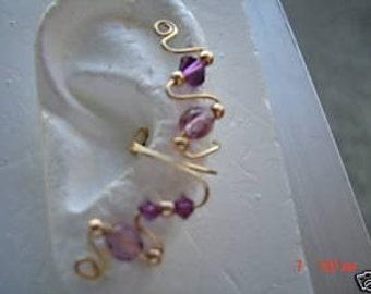 Any Birthstone Climbing Ear Cuff Cuffs  Earring..No Piercing Required
