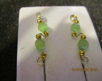 Pair of Gold Tarnish Resistant Wire GreenCat Eye Ear Climber Pin Vine Earrings