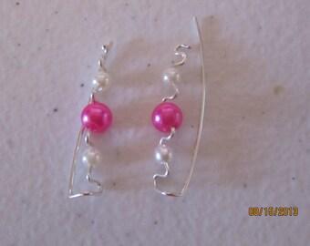 1 Pair Hot Pink Faux Pearl Sterling Silver Filled Ear Vines, Sweeps, Pins, earrings
