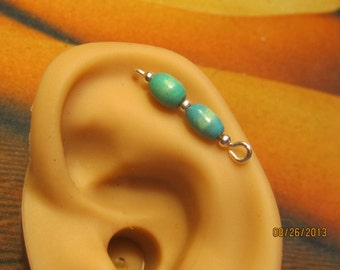 Blue Wood-Assortment Cartilage Sterling Silver Filled Ear Vine, Sweep, Pin, earring  82613