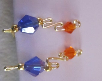 1 Pair Gator Colored Gold/ Silver Ear Vines, Sweeps, Pins, earrings