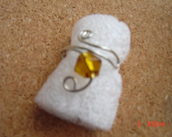 Yellow Topaz Bicone Silver Ear Cuff Earrings No Piercing Needed