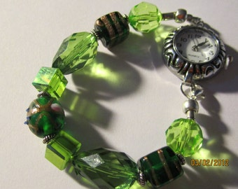 Interchangeable Beaded Watch Band or Medical ID Tag Bracelet...Green/Shapes...  BONUS...Free Watch ...read