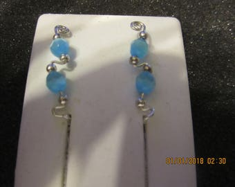 Pair of Sterling Silver Filled Tarnish Resistant Wire Blue Cat Eye Ear Climber Pin Vine Earrings