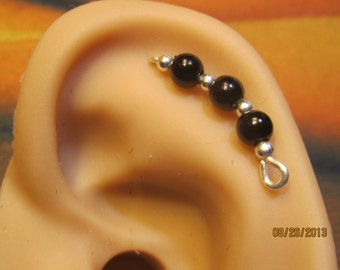 Black Faux Pearl Cartilage Sterling Silver Filled Ear Vine, Sweep, Pin, earring  82613