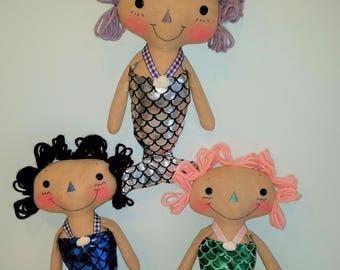 PRINTED Primitive raggedy doll pattern Mermaid Tails   Mermaid Raggedy Cloth doll   Sewing Doll Pattern   PRINTED PATTERN   HFTH221