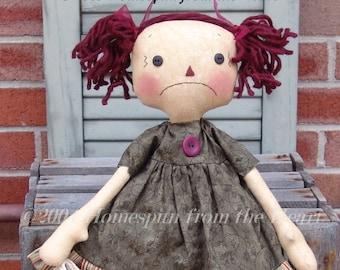 Christmas raggedy doll pattern, sad Raggedy, Christmas Decor, doll pattern, raggedy doll, HFTH172