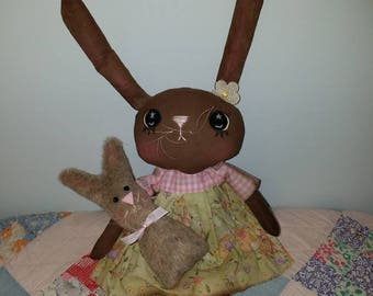 Primitive Easter Bunny Rabbit | Handmade Easter Decor | Painted Brown Bunny with eyes | Homespun from the Heart