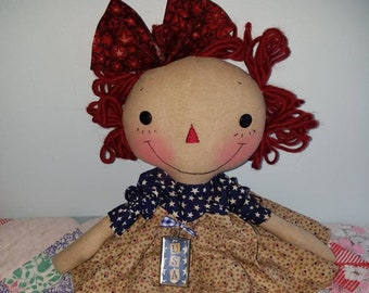 Americana theme Raggedy cloth doll, Handmade doll by Homespun from the Heart, My daughter is a soldier