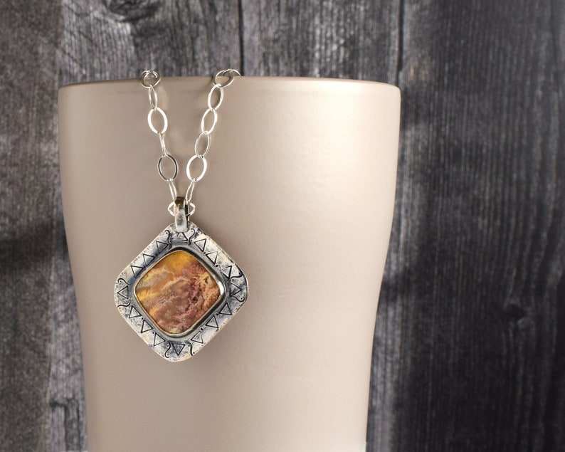 Agate Pendant Necklace Natural Stone Necklace Sterling image 0