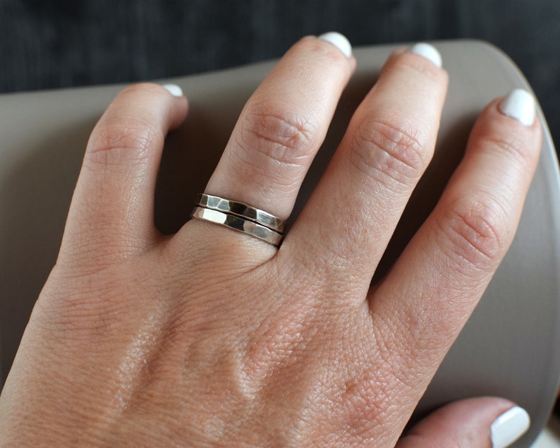 Fine Silver Hammered Ring Band Silver Stacking Rings image 0