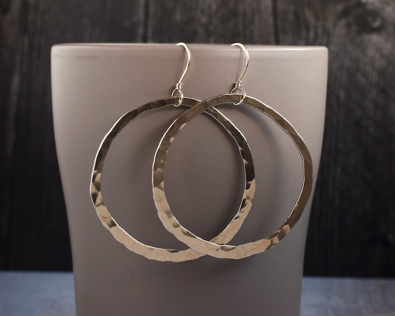 Large Hoop Earrings Statement Earrings Big Earrings Silver image 0