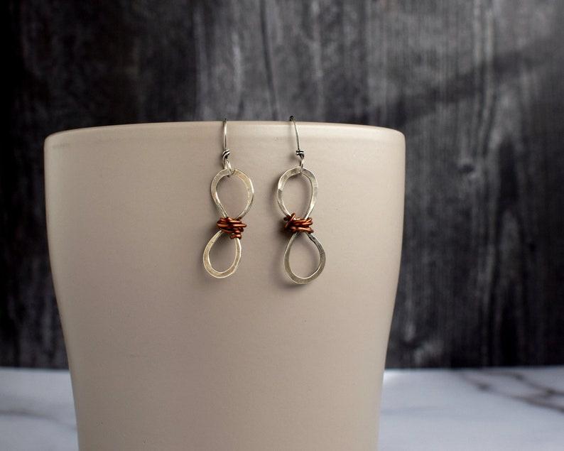 Infinity Hoop Earrings Mixed Metal Boho Jewelry Minimalist image 0