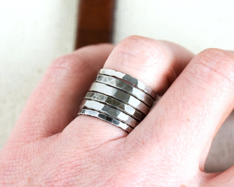 Hammered Stacking Rings for Birthday Gift For Her Plain image 0