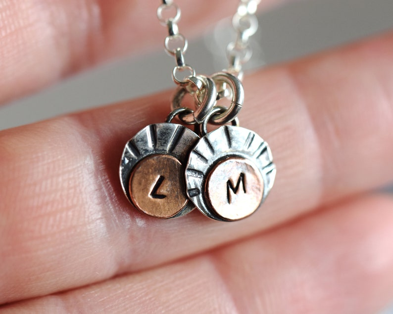 Dainty Initial Necklace Silver Necklace with Letter for image 0