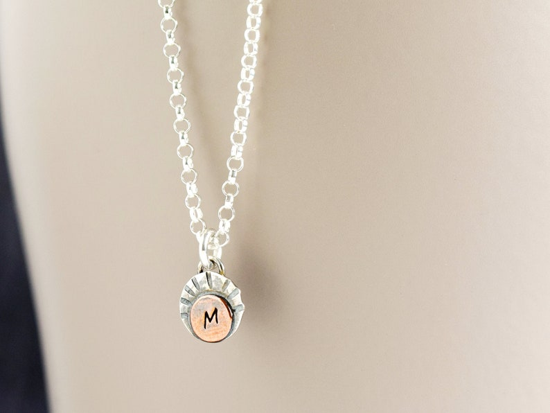 Dainty Initial Necklace Silver Necklace with Letter for Charm + 20 in chain