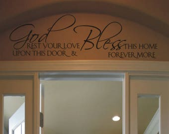 God rest your love upon this door - Bible Verse Scripture Wall Decals Stencils Stickers | Religious Wall Art Decal For Home or Church