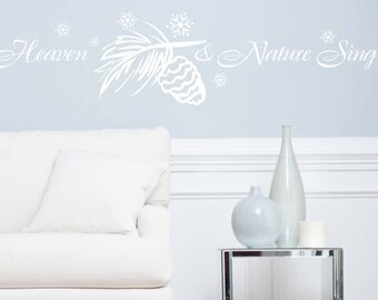 Heaven and Nature Sing - Christmas Wall Decals and Custom Wall Quotes for Holiday Decorating - Easy Christmas Stencil