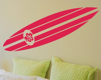 Surfboard Decor, Removable Decals, Hibiscus Decal, Surfboard Decal, Surfboard Wall Decal, Surfboard Wall Decor, Surfboard Wall Art
