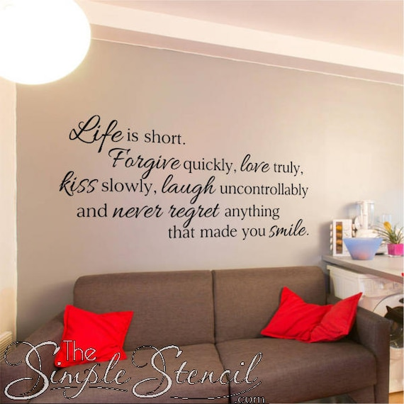 life is short wall quote vinyl wall art decal inspirational | etsy