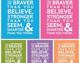 Winnie the Pooh - BRAVER, STRONGER, SMARTER - Instant Download