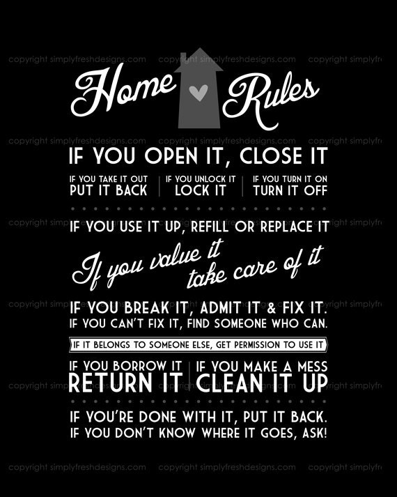 Home Rules Instant Download Etsy