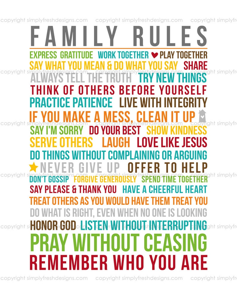 Family Rules  Subway Art  Instant Download image 0