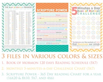 Book of Mormon Reading Charts - BY DATE - Instant Download