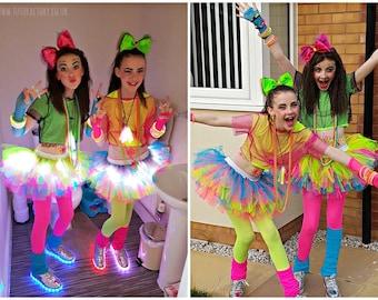 Girls Neon Tutu Light Up Tutu Dance Wear Birthday Party Girls Light Up Tutu